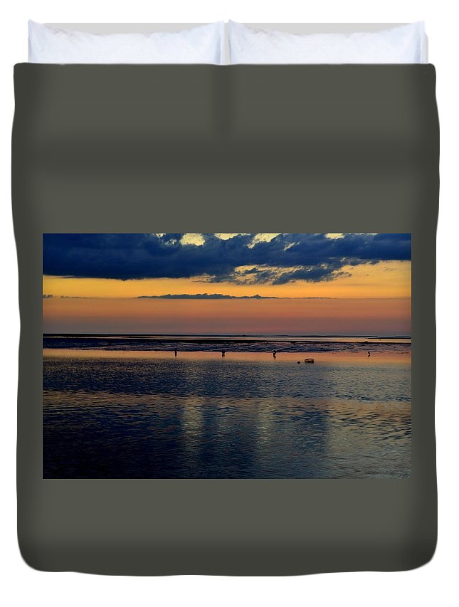 Pelican Duvet Cover featuring the photograph The Gathering by Kari Tedrick