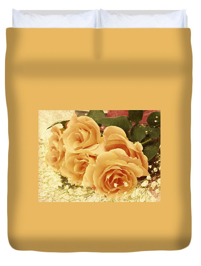Rose Duvet Cover featuring the digital art The Golden Gift by Georgiana Romanovna