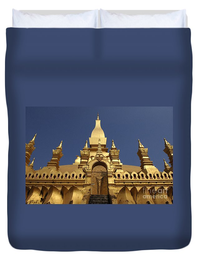 Vientienne Duvet Cover featuring the photograph The Golden Palace Laos by Bob Christopher