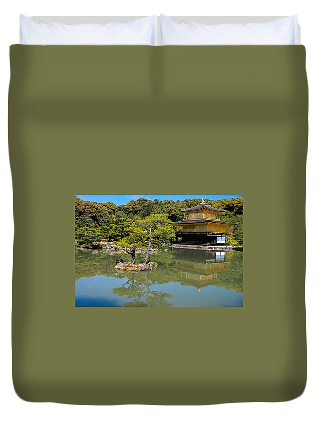 Architecture Duvet Cover featuring the photograph The Golden Pavilion by Jonah Anderson