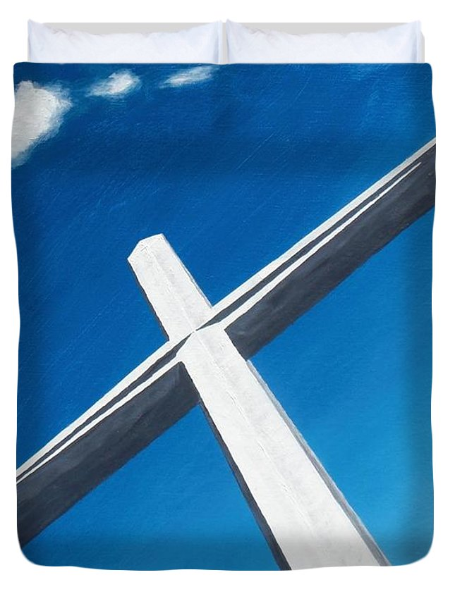 Cross Duvet Cover featuring the painting The Great Cross - Resurrection by Kelvin Kelley