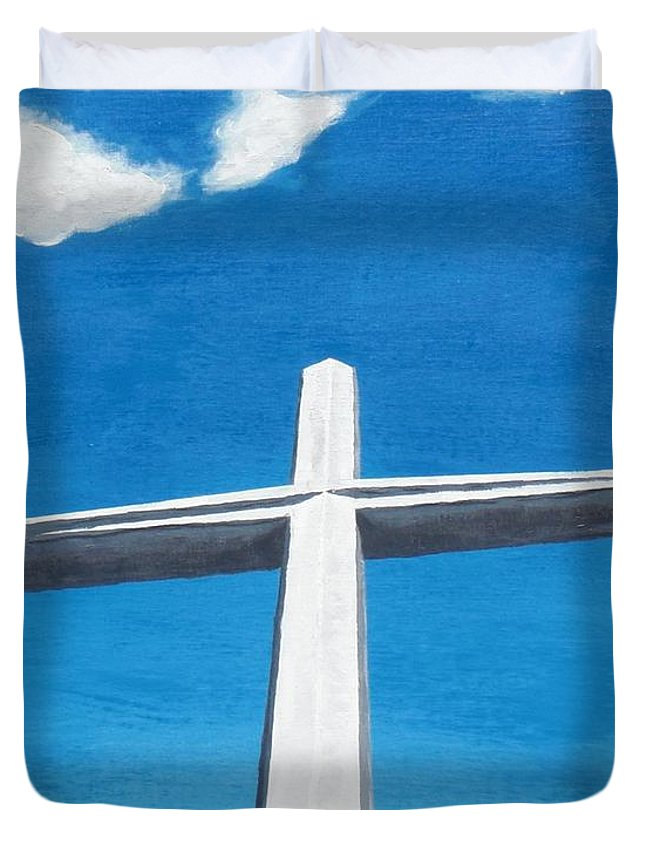 Cross Duvet Cover featuring the painting The Great Cross - Risen by Kelvin Kelley