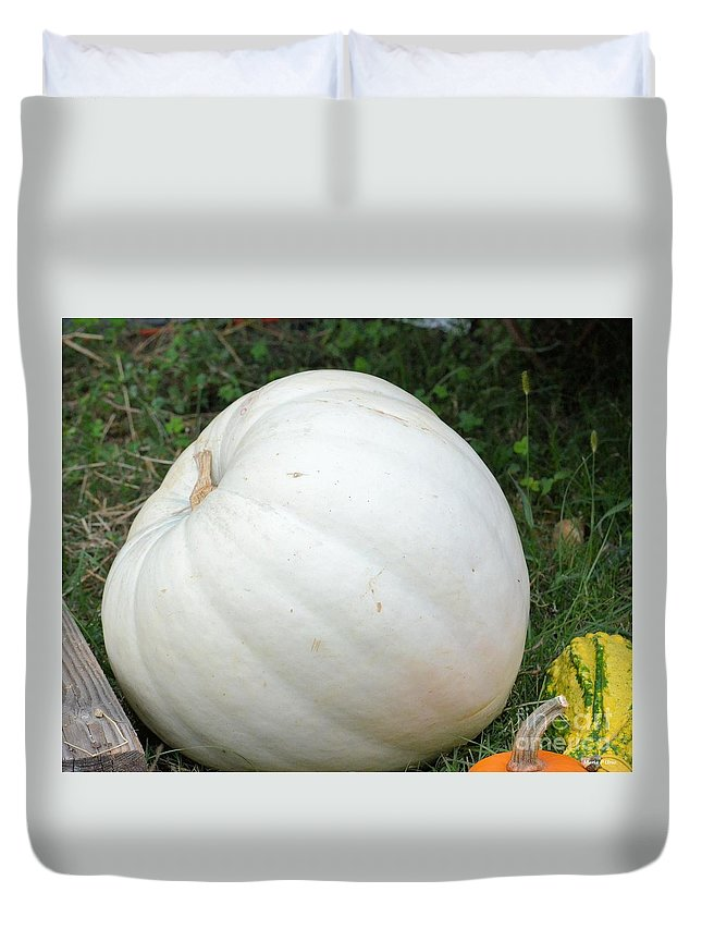 The Great White Pumpkin Duvet Cover featuring the photograph The Great White Pumpkin by Maria Urso