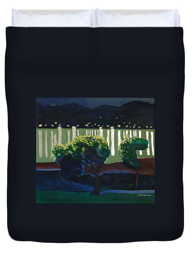 Duvet Cover featuring the painting The Hardanger Fjord By Night. by Jarle Rosseland