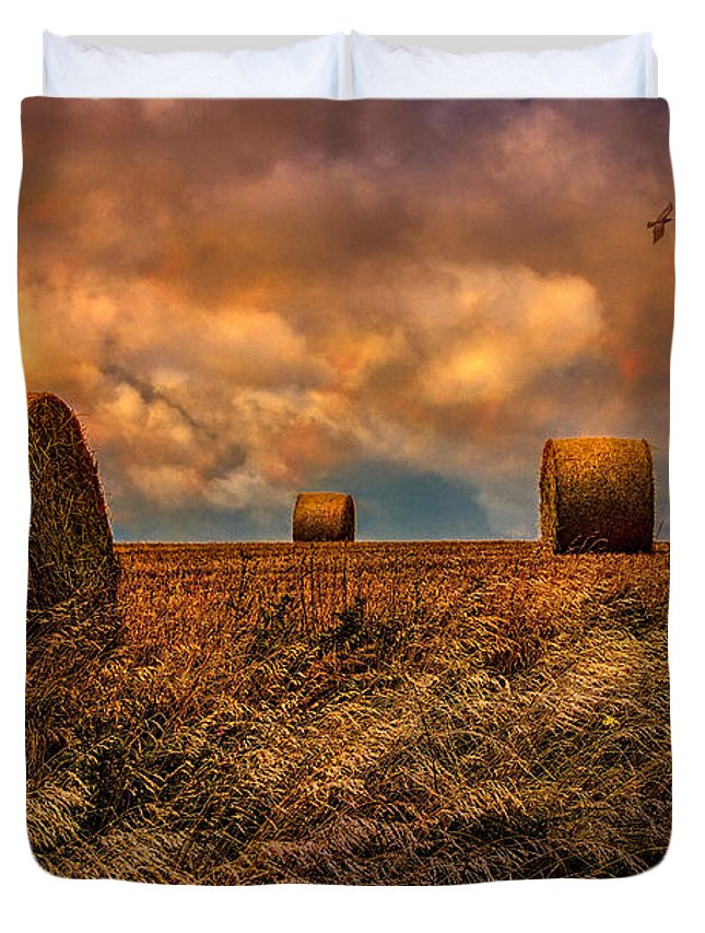 Hay Duvet Cover featuring the photograph The Hayfield by Chris Lord