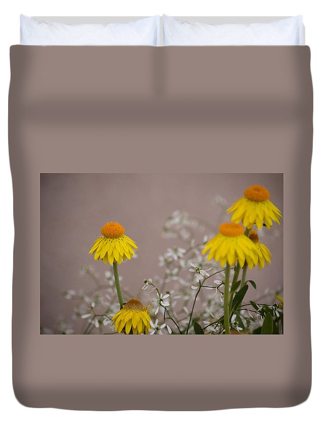 Flower Duvet Cover featuring the photograph The Heart Of The Matter by Trish Tritz