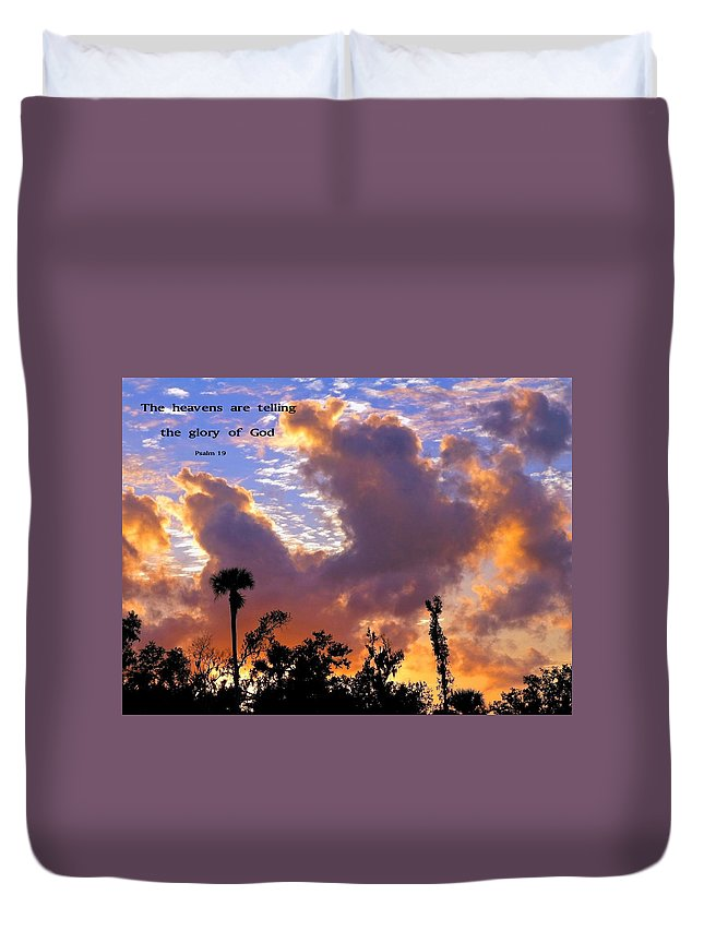 Clouds Duvet Cover featuring the photograph The Heavens Tell by Sally Weigand