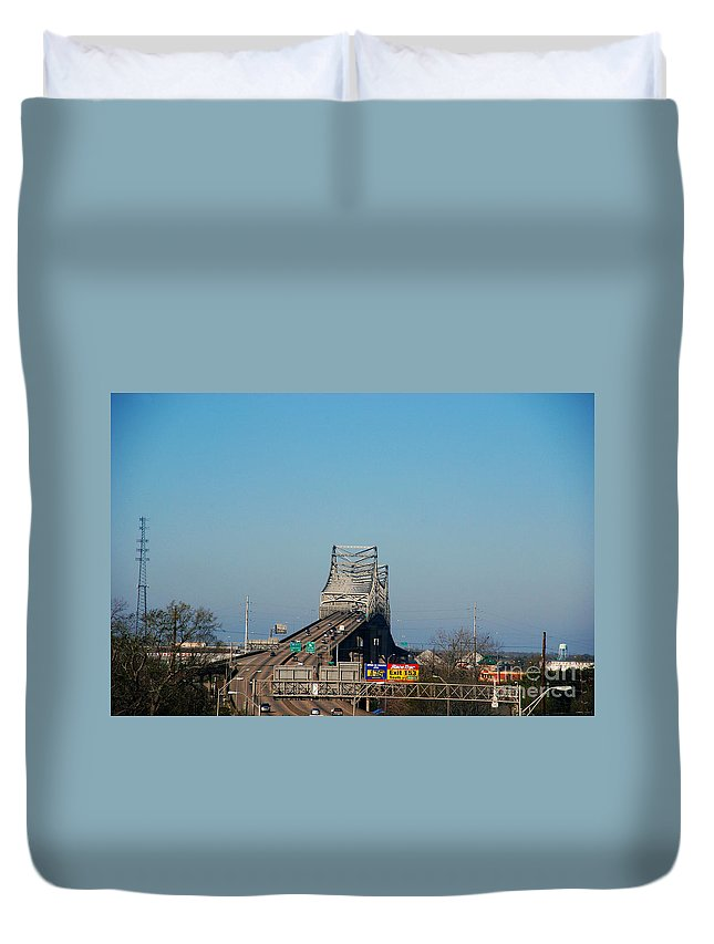 Horace Wilkinson Duvet Cover featuring the photograph The Horace Wilkinson Bridge Over The Mississippi River In Baton Rouge La by Susanne Van Hulst