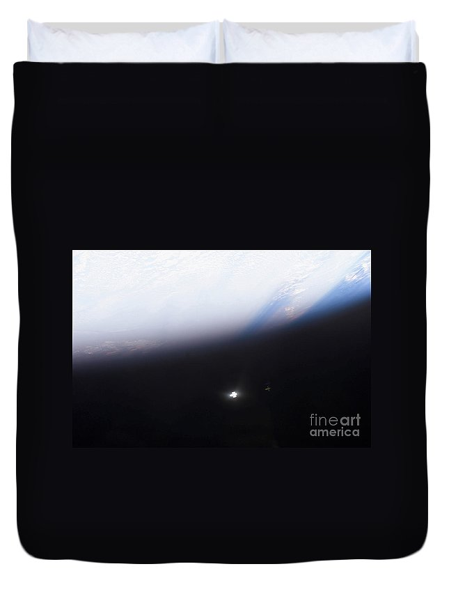 Color Image Duvet Cover featuring the photograph The Hubble Space Telescope by Stocktrek Images