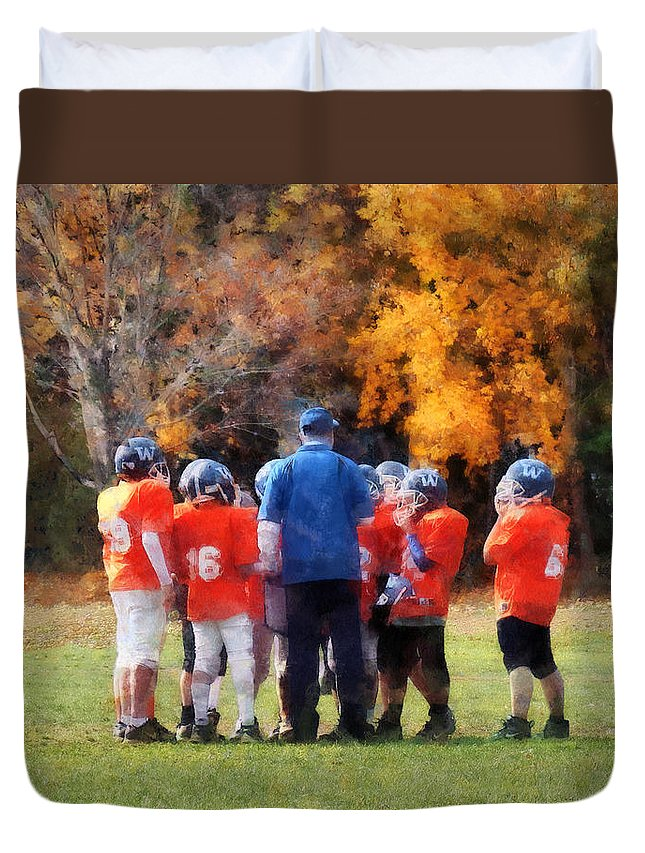 Football Duvet Cover featuring the photograph The Huddle by Susan Savad