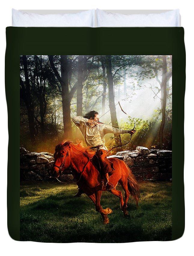 Hunter Duvet Cover featuring the digital art The Hunter by Karen Koski