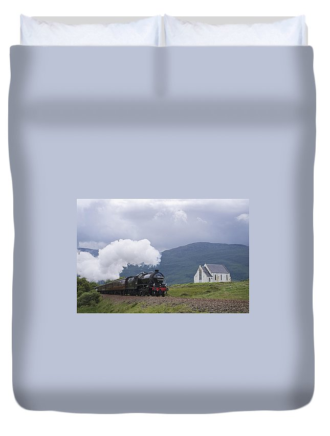 Train Duvet Cover featuring the photograph The Jacobite Express At Lochailort Church by Howard Kennedy