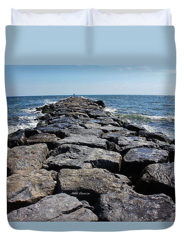 Rocks Duvet Cover featuring the photograph The Jetty by Mikki Cucuzzo