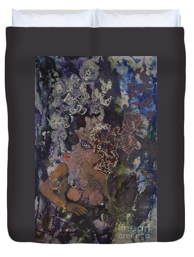 Encaustic Duvet Cover featuring the painting The Joker Lady by Heather Hennick