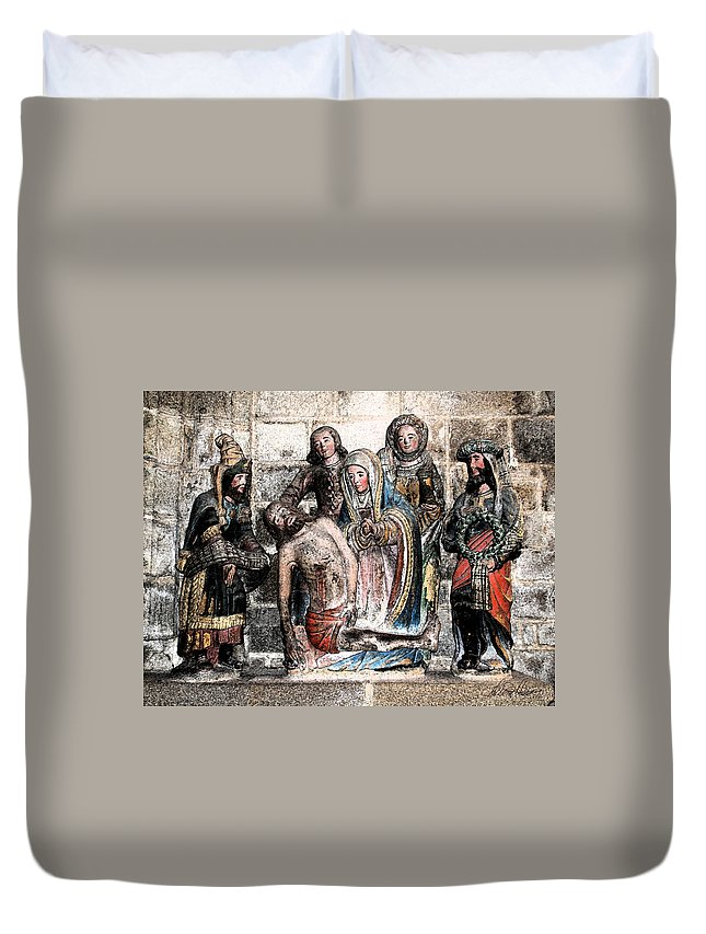 Christ Duvet Cover featuring the photograph The Lamentation Of Christ by Diana Haronis