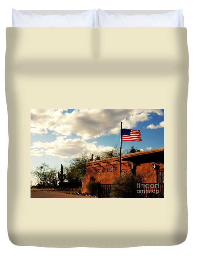 The Last Outpost Duvet Cover featuring the photograph The Last Outpost Old Tuscon Arizona by Susanne Van Hulst