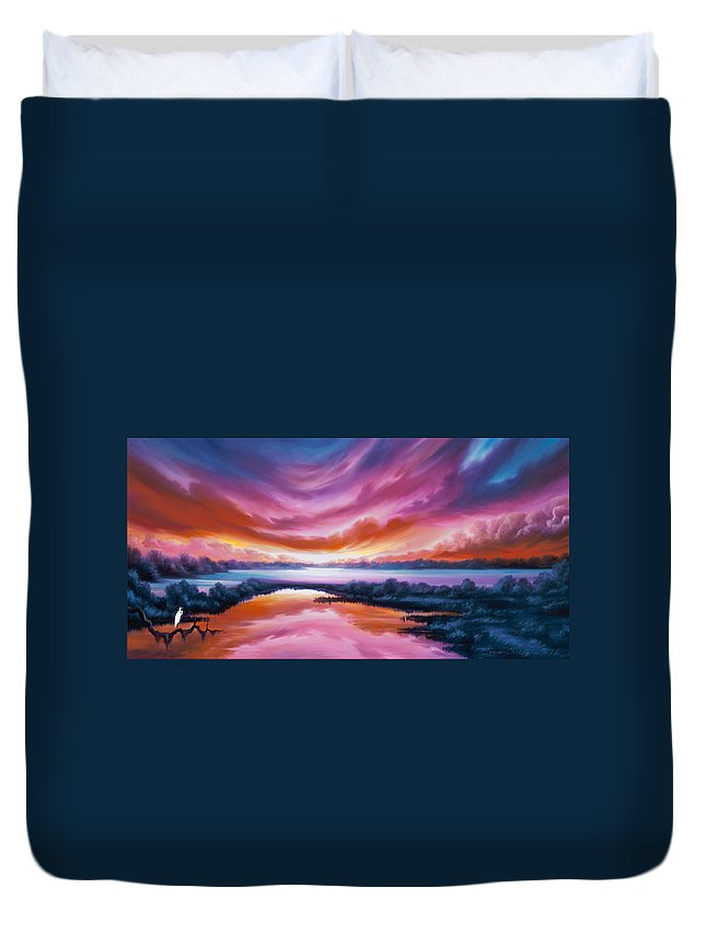 Sunrise; Sunset; Power; Glory; Cloudscape; Skyscape; Purple; Red; Blue; Stunning; Landscape; James C. Hill; James Christopher Hill; Jameshillgallery.com; Ocean; Lakes; Sky Duvet Cover featuring the painting The Last Sunset by James Christopher Hill