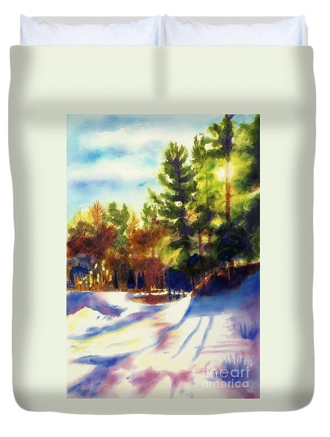Paintings Duvet Cover featuring the painting The Last Traces II by Kathy Braud