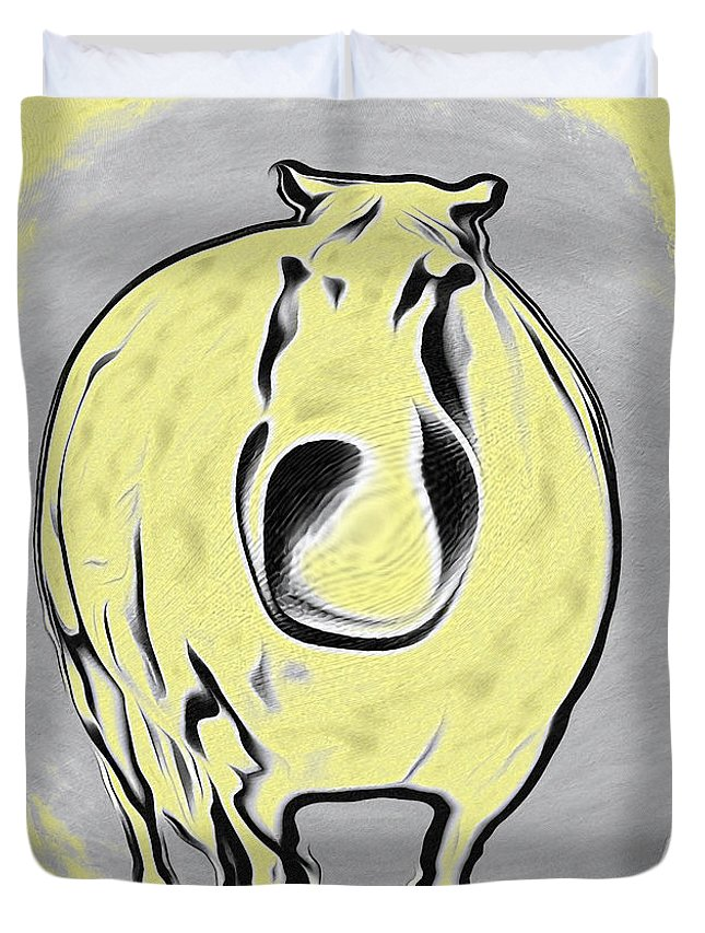 The Legend Of Fat Horse Duvet Cover featuring the digital art The Legend Of Fat Horse by Bill Cannon
