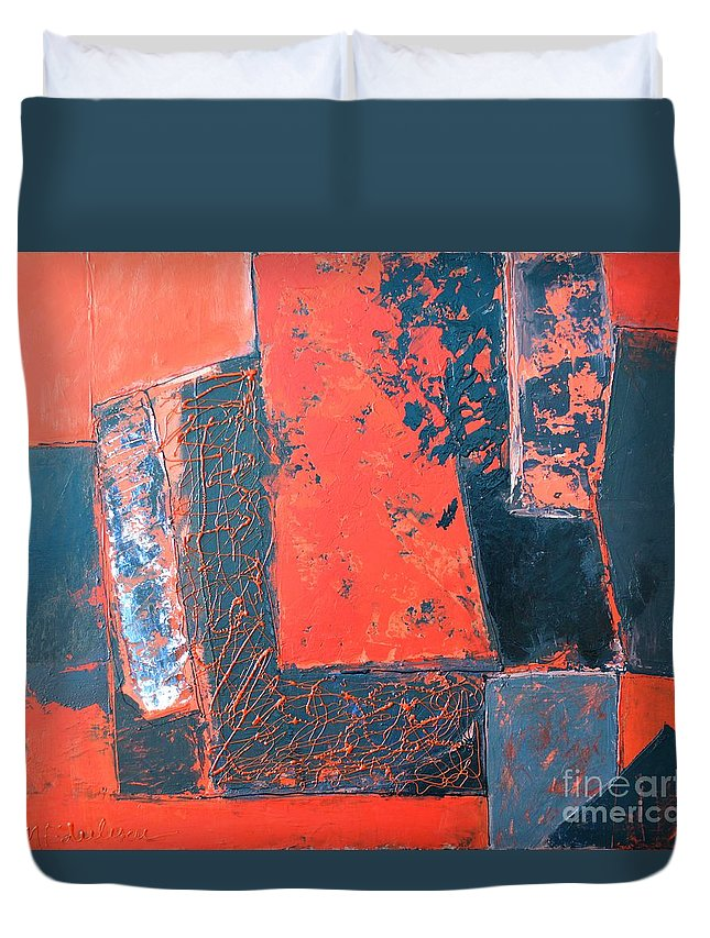 Abstract Duvet Cover featuring the painting The Ludic Trajectories Of My Existence by Ana Maria Edulescu