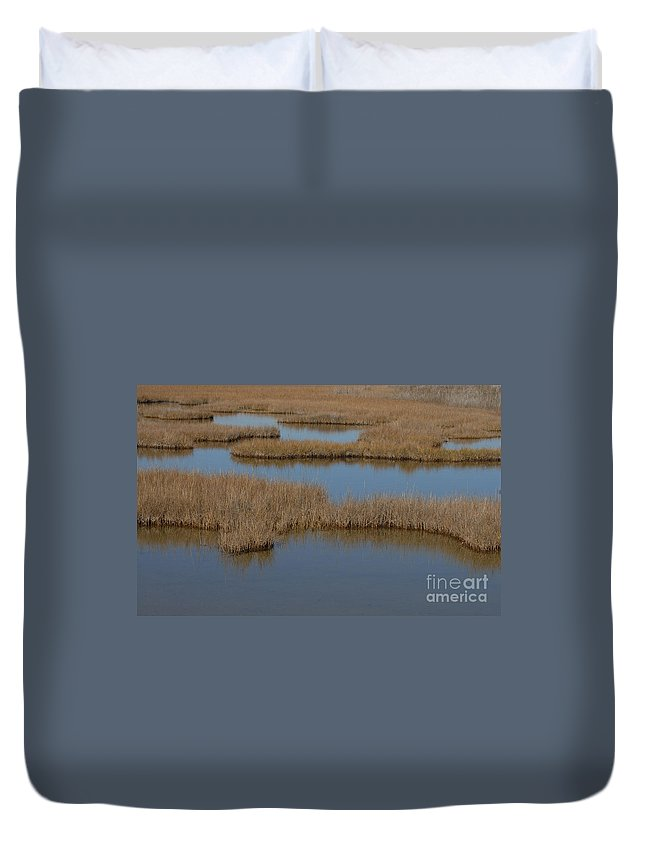 The Marsh Duvet Cover featuring the photograph The Marsh by Melody Jones