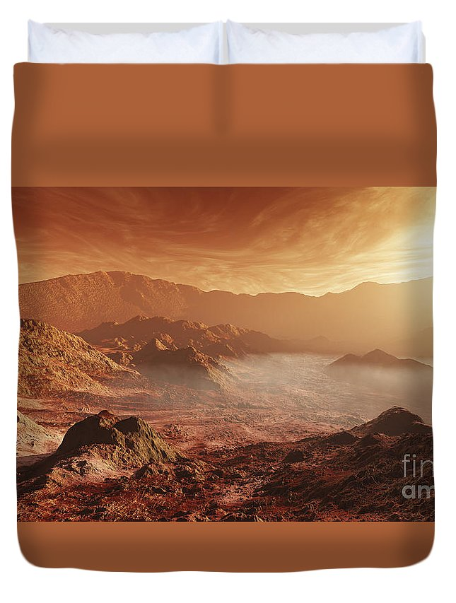 Rendition Duvet Cover featuring the digital art The Martian Sun Sets Over The High by Steven Hobbs