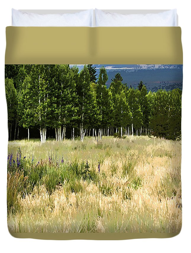 Landscape Duvet Cover featuring the photograph The Meadow Digital Art by Phyllis Denton