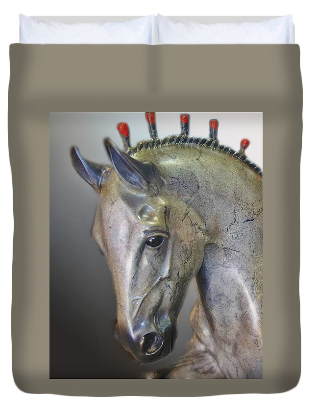 Arabianhorseshow2012.2 Duvet Cover featuring the photograph The Mighty Horse by Diane Wood