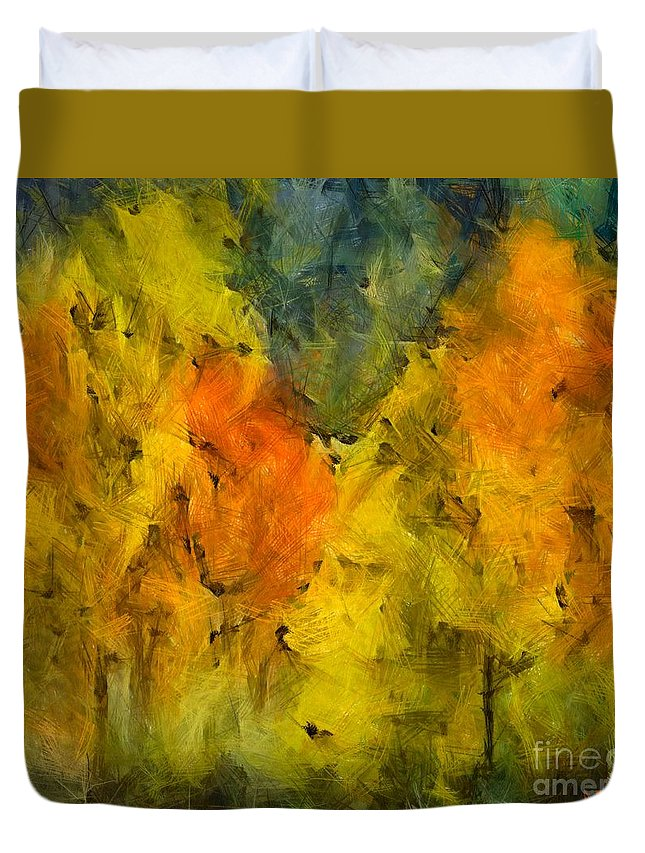 Autumn Duvet Cover featuring the painting The Mist In The Autumn by Dragica Micki Fortuna
