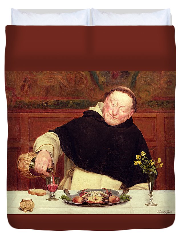 Food; Drink; Wine; Carafe; Crab; Dining; Holy; Tonsure; Flowers; Salt; Domestic; Pouring; Dominican; Friar; Monk Duvet Cover featuring the painting The Monk's Repast by Walter Dendy Sadler
