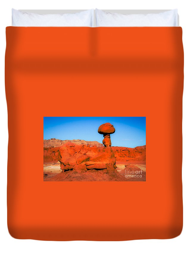 Goblin Valley Duvet Cover featuring the photograph The Monster by Robert Bales