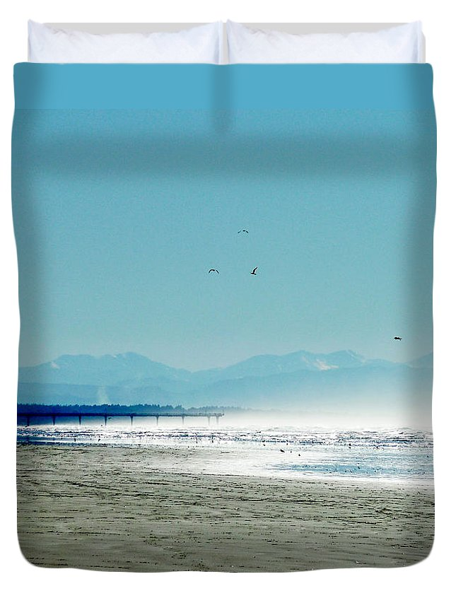 Pier Duvet Cover featuring the photograph The Mountains And The Pier by Steve Taylor