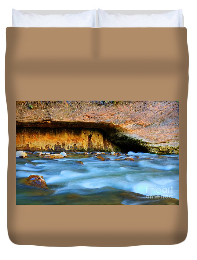 Virgin River Duvet Cover featuring the photograph The Narrows Virgin River Zion 4 by Bob Christopher