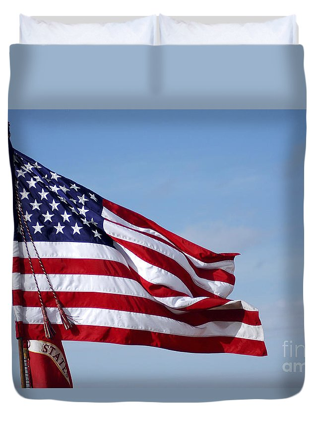 Blowing Duvet Cover featuring the photograph The National Colors And Official Colors by Stocktrek Images