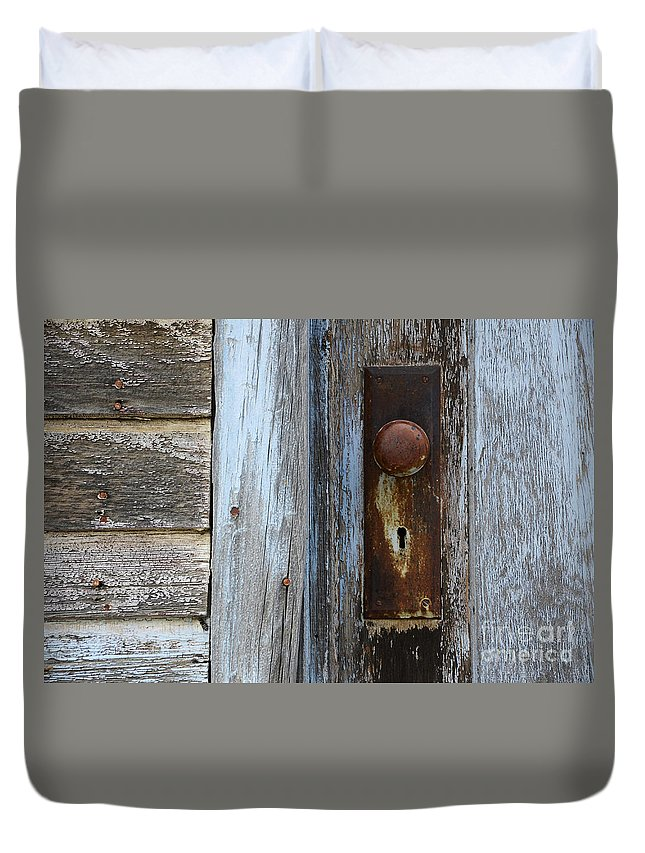 Door Duvet Cover featuring the photograph The Old Blue Door by Bob Christopher