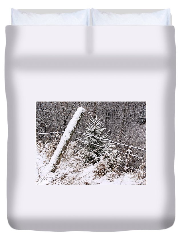 Fence Duvet Cover featuring the photograph The Old Fence - Snowy Evergreen by Angie Rea