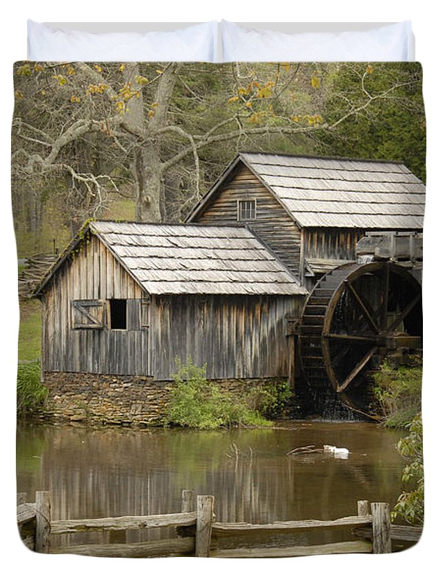 History Duvet Cover featuring the photograph The Old Grist Mill by Cindy Manero