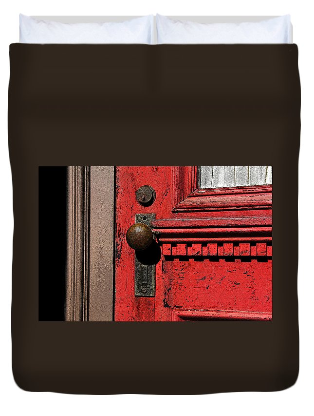 Art Duvet Cover featuring the painting The Old Red Door by David Lee Thompson