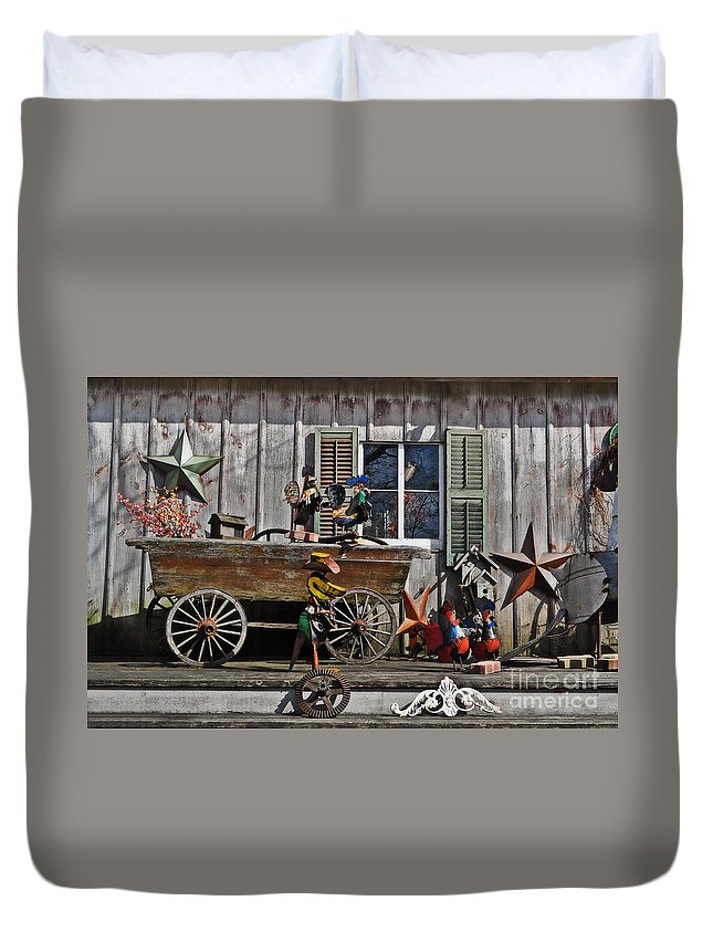 The Old Shed Duvet Cover featuring the photograph The Old Shed by Mary Machare