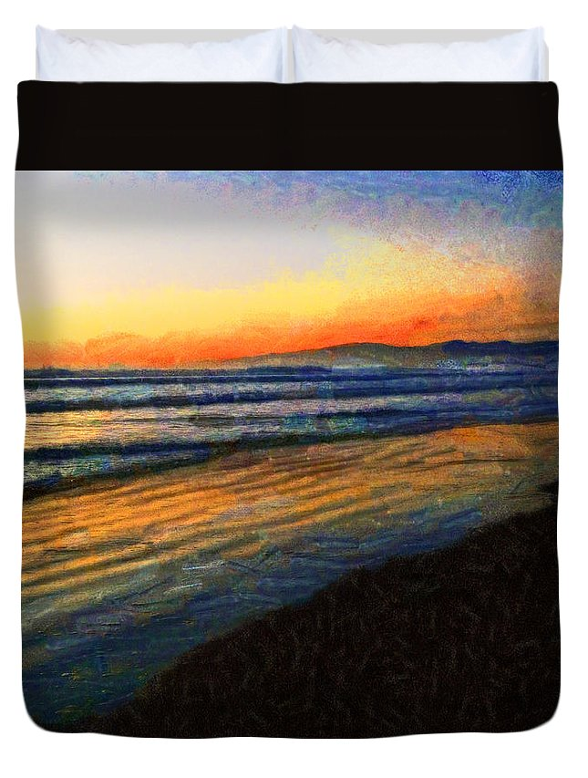Crack Of Dawn Duvet Cover featuring the photograph The Painted Waves Of Dawn by Steve Taylor