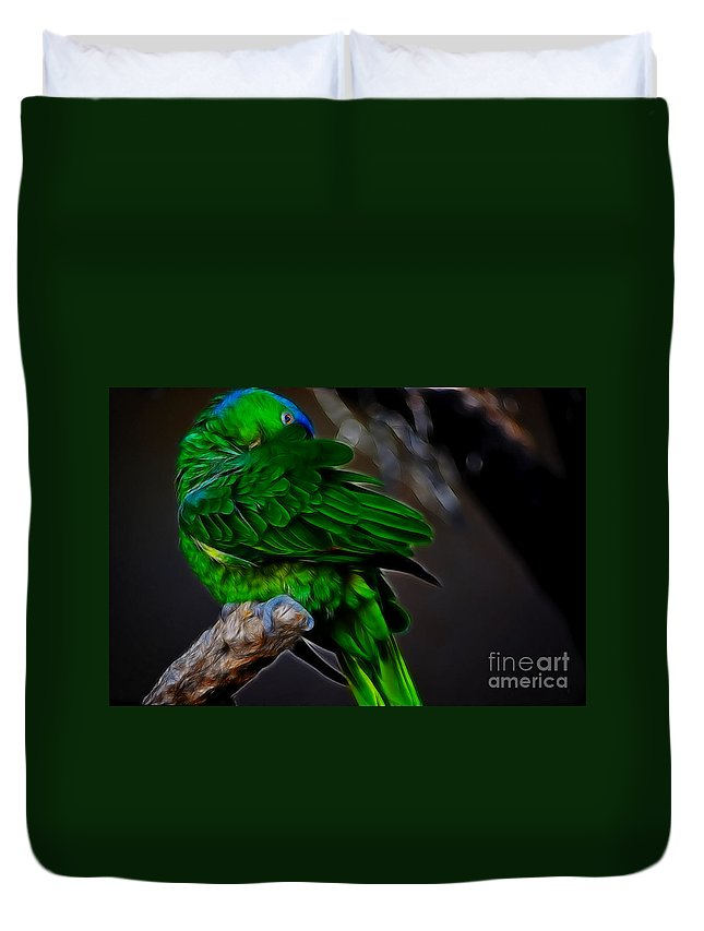 Fine Art Photography Duvet Cover featuring the photograph The Parrot Fractal by Donna Greene