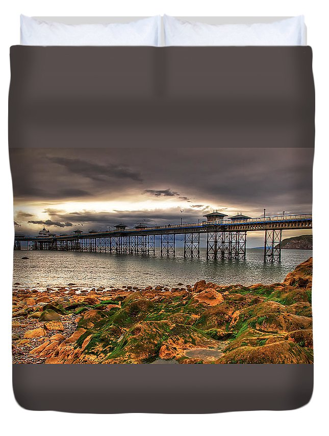 Pier Duvet Cover featuring the photograph The Pier by Adrian Evans