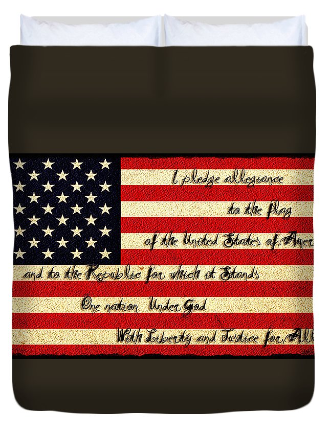 The Pledge Of Allegiance Duvet Cover featuring the photograph The Pledge Of Allegiance by Bill Cannon