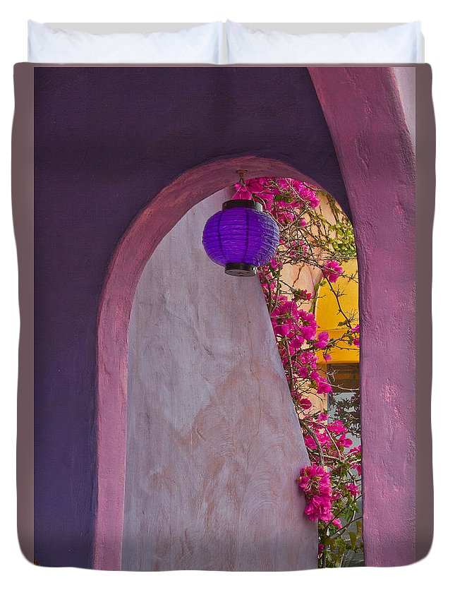 Architectural Duvet Cover featuring the photograph The Purple Lantern by Roger Mullenhour