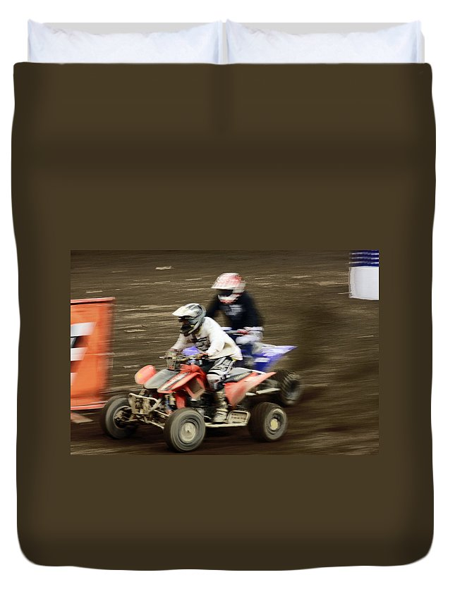 Atv Duvet Cover featuring the photograph The Race To The Finish Line by Karol Livote