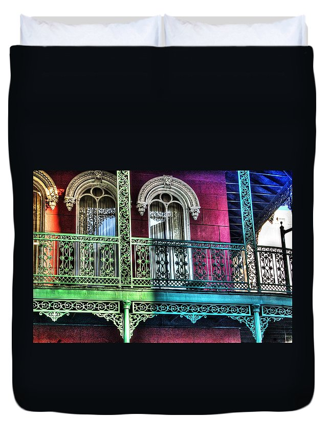 Alabama Duvet Cover featuring the photograph The Railing by Michael Thomas