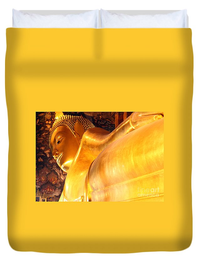 The Reclining Buddha Duvet Cover featuring the photograph The Reclining Buddha by Milena Boeva