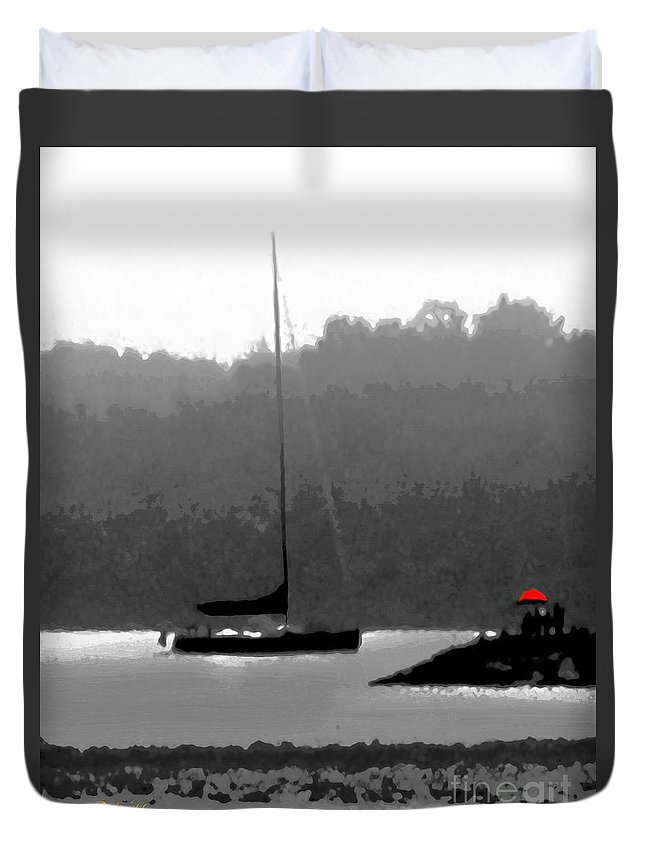 Boats Duvet Cover featuring the digital art The Red Umbrella by Dale  Ford