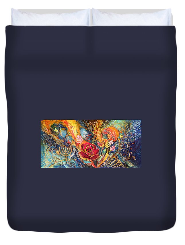 Original Duvet Cover featuring the painting The Rose Of East by Elena Kotliarker