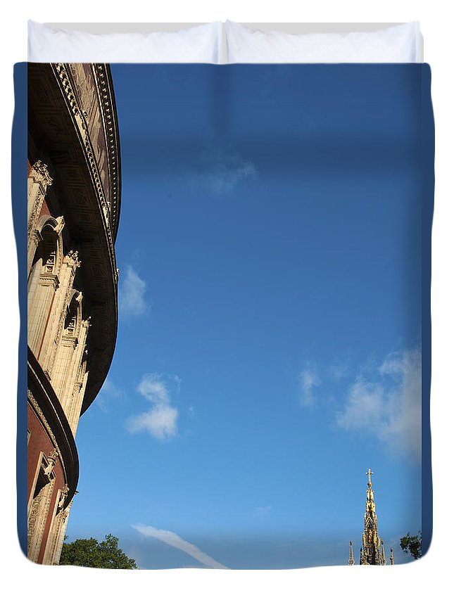 Albert Duvet Cover featuring the photograph The Royal Albert Hall And Albert Memorial by Andrew Michael